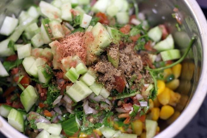 salt & pepper added to corn chaat recipe