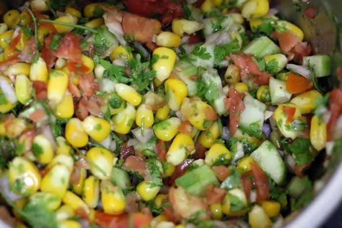 making corn chaat