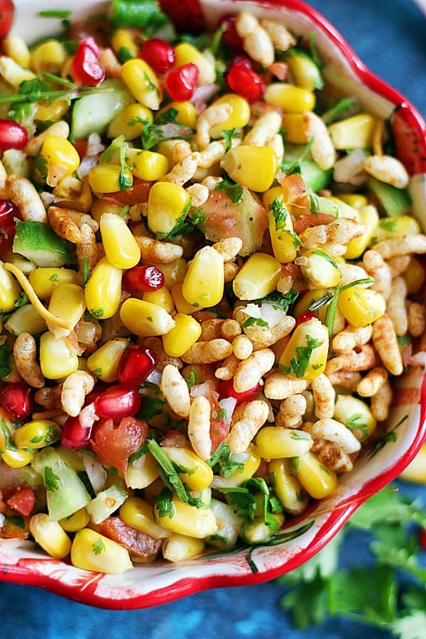 closeup shot of corn chaat